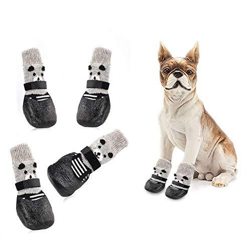 Toulifly Dog Socks,Hundesocken,Dog Shoes,Hundesocken Antirutsch,Anti-Rutsch Socken für Hunde,Geeignet für Kleine Hunde Pfoten-Schutz und Traktion,Innenbereich mit Draussen (M)