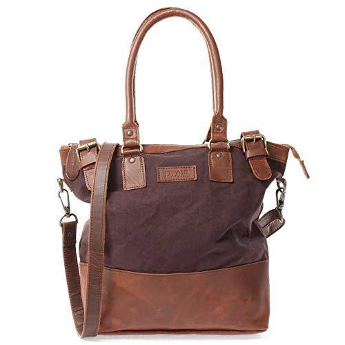 LECONI Schultertasche Damentasche Handtasche kleiner Freizeit Shopper Beuteltasche aus Leder + Canvas für Damen 37x33x12cm mokka LE0056-C