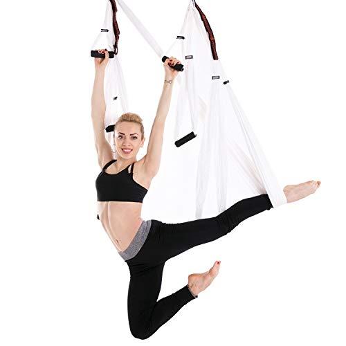 Aerial Yoga Hammock Startseite Anfänger Einbauzubehör Fest Pan-Off-Bett Farbige Stoff Ingxijie1ha QiuGe (Color : White)