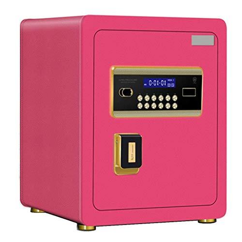 DJPP Caja Fuerte Cerradura de Llave Segura Sistema Electrónico Antirrobo de 2 Capas Pantalla Lcd Diferentes Colores Caja Fuerte de 36 * 32 * 45Cm,Rosado