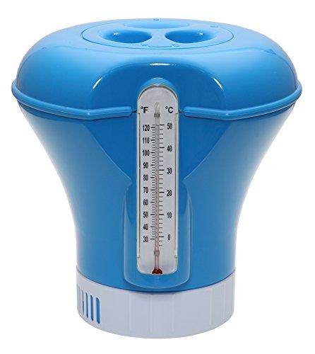 POWERHAUS24® Pool Dosierschwimmer für 200g Tabletten mit Thermometer