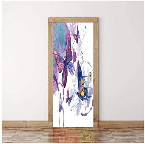Sticker Porte Door Sticker 3D Sticker Butterfly Ink Painting Purple Wall Paper Removable Self-Adhesive Murals For Bedroom Office Wall Stickers Home Decoration-Jyeue -95Cm(W)*215Cm(H)