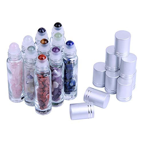 10Pcs 10ml Gemstone Essential Oil Roller Bottles Natural Stones Roll-on Bottles with Healing Chips Inside
