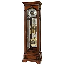 Howard Miller Whisler Floor Clock 547-065 – Lightly Distressed Hampton Cherry Grandfather Decor, Illuminated Case & Cable-Driven, Single-Chime Movement