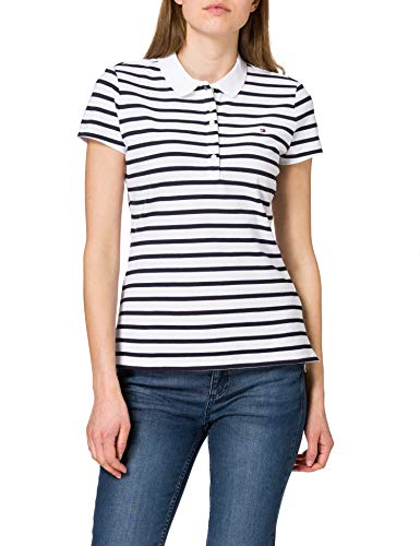 Tommy Hilfiger Short Sleeve Slim Polo Stripe Camiseta sin Mangas para bebés y niños pequeños, Breton Classic - Juego de Accesorios para Bicicleta, XL para Mujer