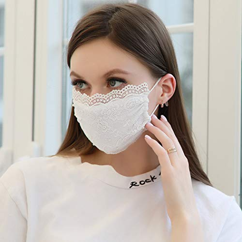 Eollan Pearl Lace Mouth Cover Adjustable Ear strap Mask Micro Fiber Accessories Wedding Party Halloween Bling Nightclub Jewelry for Women and Girls (white)