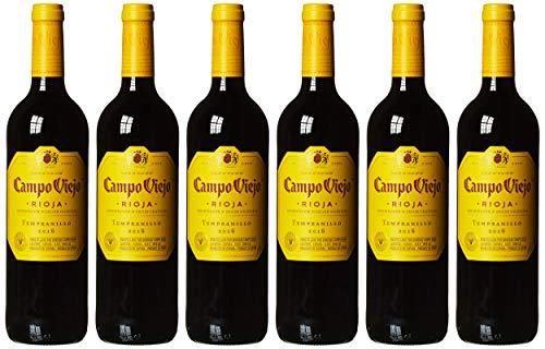 Campo Viejo Tempranillo Rotwein – Spanischer Rotwein mit Fruchtaromen, würzigen Kräuternoten & zarter Vanille-Kokos-Süße – Weinbox-Set 6 x 0,75 L