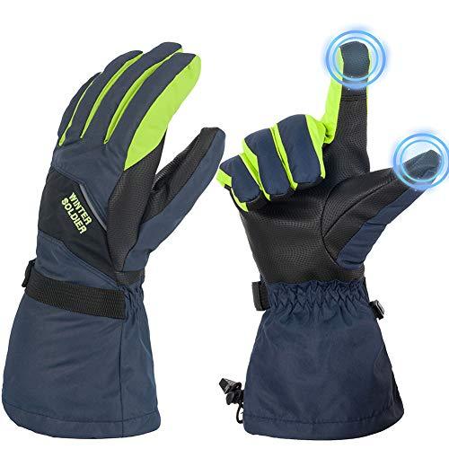 JTENG Skihandschuhe Herren wasserdichte und Winddichte Handschuhe, Kälteschutz in Winterzeit, Leicht und Strapazierfähig (Blau-Grün, L)