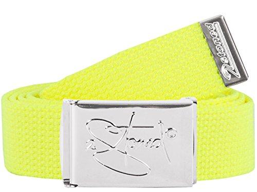 2Stoned Hosengürtel Schmal Neon-Gelb, Chromschnalle Classic, 3 cm breit, Textil-Gürtel für Damen