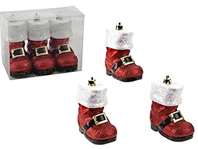 Set Of 3 Red Santa Boots Hanging Glittering tree Decorations