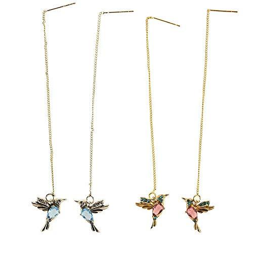2 Pairs Simulation Hummingbird Stud Earrings Threader Long Drop Tassel Crystal Dangle, Elegant Hummingbird Rhinestone Stud Earrings Statement Jewelry for Women Girl (Azul y rojo)