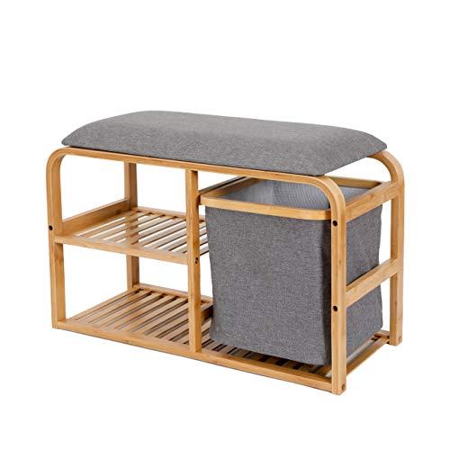 Lumaland Schuhregal aus Bambus mit Sitzbank + 2 Ebenen + 1 Korb - 69,5x30x45 cm Grau