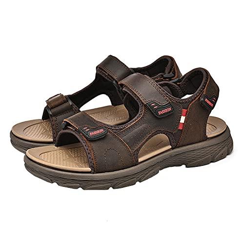 Senderismo Al Aire Libre para Hombre Sandalias para Caminar Punta Abierta Sandalias Piel Vaca Real para Exteriores CojíN Aire Velcro Zapatos Escalada Deportivos Planos,Marrón,43 EU