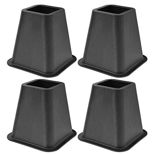 Dioche Juego de 4 elevadores de muebles, elevadores de cama de color negro con diseño de elefante