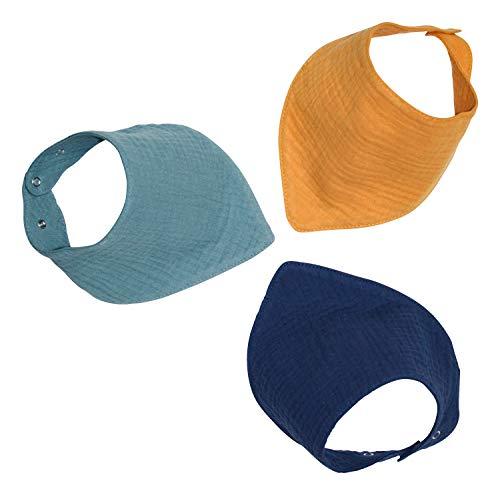 Set mit DREI oder Vier Musselinhalstüchern 100% Baumwolle Dreieckstuch Spucktuch Sabberlätzchen Halstuch 0-18 Monate- 4 lagig und kuschelweich