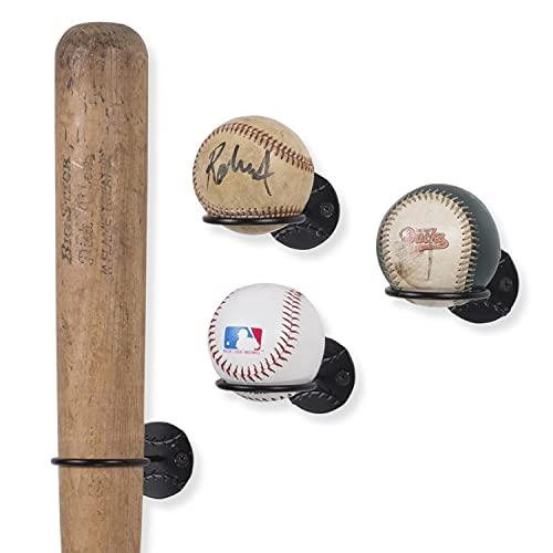 Wallniture Sporta Baseballschläger und Ballhalter, Wandmontage, Organisations- und Aufbewahrungsregal, Metall, Schwarz, 4 Stück