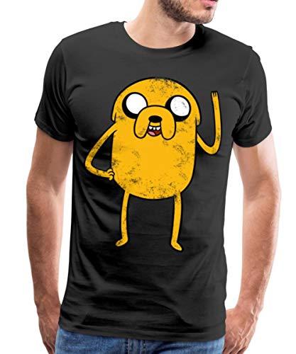 Spreadshirt Adventure Time Mit Finn Und Jake Vintage Jake Männer Premium T-Shirt, 4XL, Schwarz