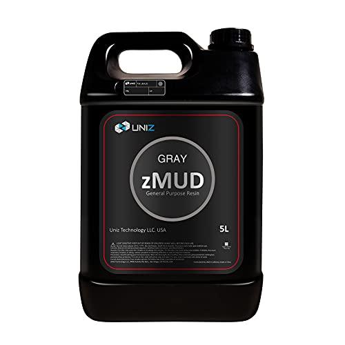 UNIZ zMUD 405nm Resina rápida para Impresora 3D, LCD Fotopolímero de curado UV Alta precisión de Estándar Resina - Gris 5L