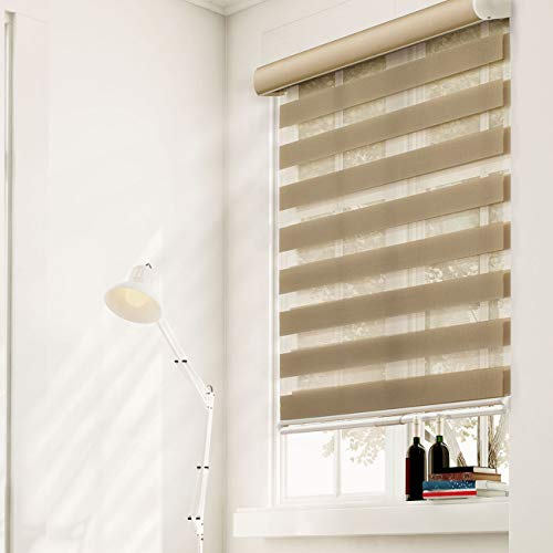 CHICOLOGY Free-Stop Cordless Zebra Roller Shades Dual Layer Combi Window Blind, 32