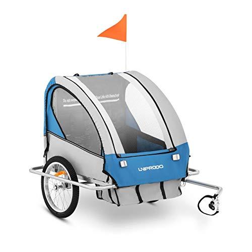 Uniprodo Uni_Trailer_04 Fahrradanhänger 2 Kinder Kinderanhänger Kinderfahrradanhänger Zweisitzer