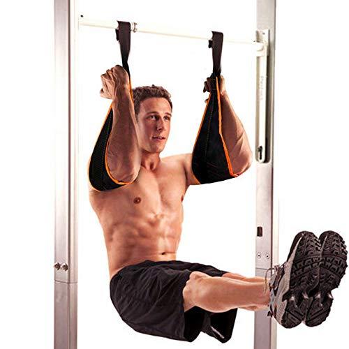 Taeku Armschlaufen Bauchtraining 1 Paar Dauerhaft Ab Straps Slings Klimmzugstange Bauchtrainer Fitness bis 200 kg Belastbar für Tür Reck und Turnstange (Orange)
