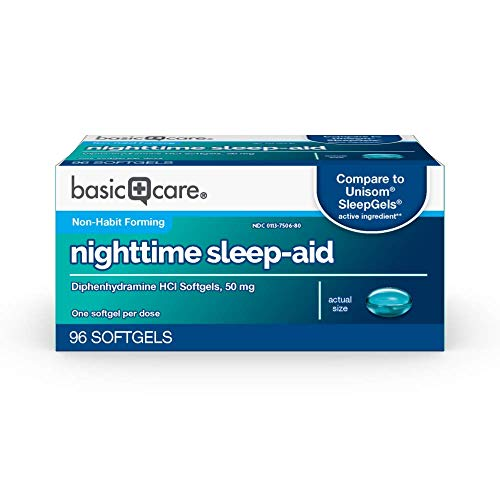 Amazon Basic Care Nighttime Sleep-Aid Softgels, Diphenhydramine HCl 50 mg, Relieves Occasional Sleeplessness, 96 Count