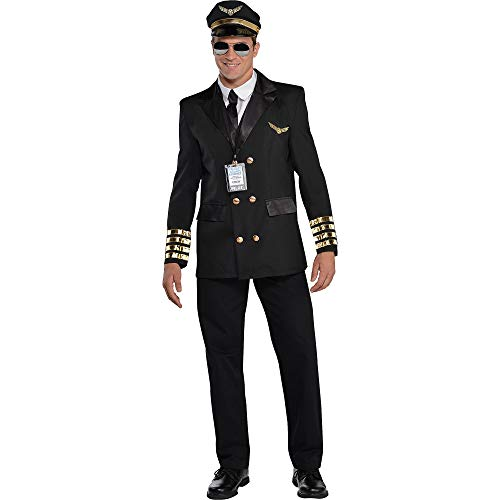 amscan- Adults Costume in Black with Pilot Hat and Lanyard-Size L-1 PC Déguisement, 844183-55, Couleur Non Solide, Men: 44 46