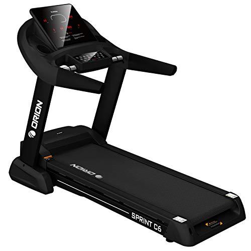 Orion Fitness Sprint C6 Laufband klappbar elektrisch bis 150kg, Bluetooth, FitShow, Kinomap automatische Steigung auf 15 Ebenen,LED-Computer, 1-20km/h, Motor mit 4PS(5PS), Laufgurtfläche 140 * 50cm