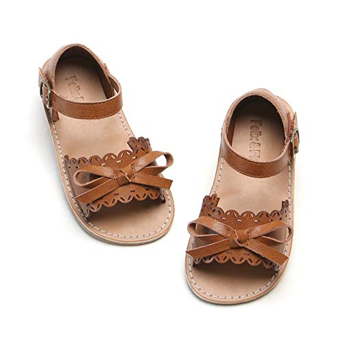 Felix & Flora Girls Sandals - Toddler Girl Dress Shoes Size 6-12 for Summer Party Wedding School Flats.(Brown 8 Toddler)