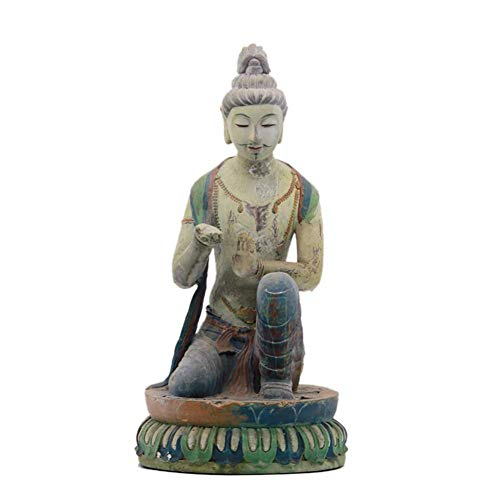Mnjin Decoración del hogar Estatua del Buda tailandés, Escultura del Buda tailandés Estatuilla exótica Ornamento del Creyente Budista casero