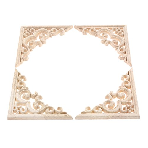 MUXSAM 4 adhesivos de madera tallada vintage para esquina, apliques de pared, sin pintar, para decoración de puerta de armario de casa, manualidades, 11 x 11 cm