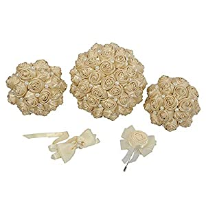 Sevem-D Bridal Bouquets One Set Artificial Flower Champagne Wedding Bouquet Stunning Handmade Flowers Bridesmaid,One Set