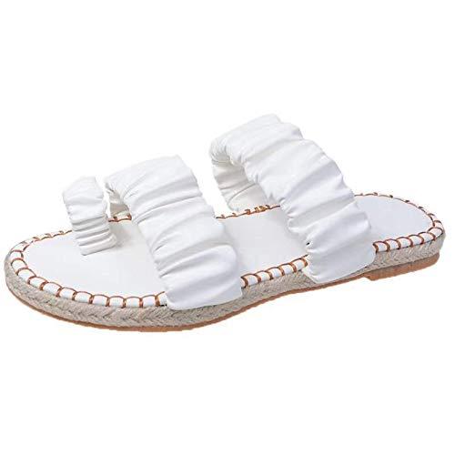 Damen Sandalen Bequeme Flache Beach Strandsandale Slingback Peep Toe Slip On Sommer Outdoor Sandals Freizeitschuhe(5-Weiß/White,41)