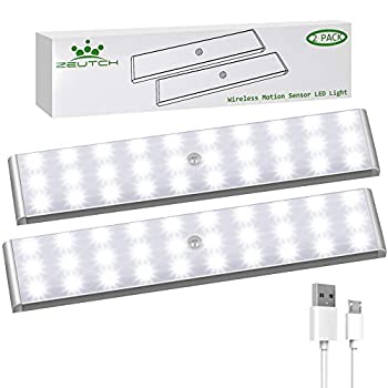Homelife LED Bars Motion Sensor Lights 30 LED Under Cabinet Lighting Wireless Rechargeable LED Strip Lights Indoor with Large Battery for Stairs,Wardrobe,Kitchen,Hallway  2 Packs
