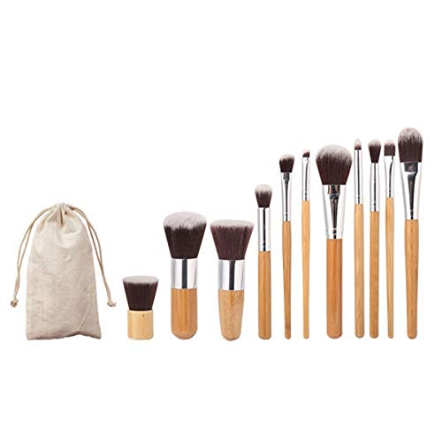 Brosses Maquillage de visage 11 PCS nylon bambou cheveux poignée pinceau de maquillage Set avec étui, Maquillage Brush Set