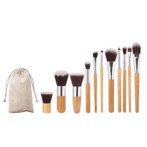 Pinceau de maquillage, 11 PCS nylon bambou cheveux poignée pinceau de maquillage Set avec étui, lot de pinceau maquillage