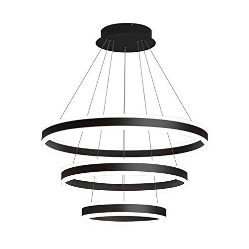 152W LED Acrílico Colgante Luz Tres anillos Moderno Casado Luz de Luz de Luz Flush Montaje Iluminación Tricolor TRICOLOR Dimmable Lámpara Colgante AC 110V - 240V Negro [Clase de energía A +++]