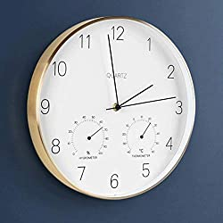 TWTD-TYK Wall Clock, Wall Clock Creative Nordic Metal Border Living Room Clock Mute Scan Code Temperature Hygrometer (Color : Gold)