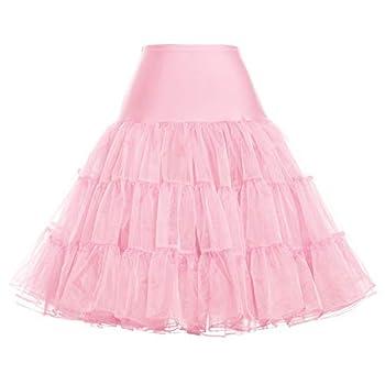 Women 50s Petticoat Skirts Tutu Crinoline Underskirt Light Pink