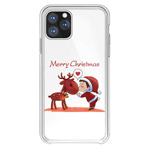 18eay Compatibile per iPhone 11 PRO Max Cover Christmas Natale Trasparente Silicone Case TPU Ultra Sottile Anti Scratch Custodia Babbo Natale Bumper Case Compatibile Apple iPhone 11 PRO Max