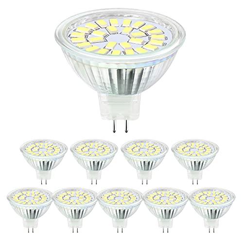Hilleagle Bombilla LED GU5.3 MR16 Focos 5 W DC12 V, equivalente a 50 W halógena, blanco frío 6000 K, 450 lm, ángulo de emisión 110 °, no regulable, 10...
