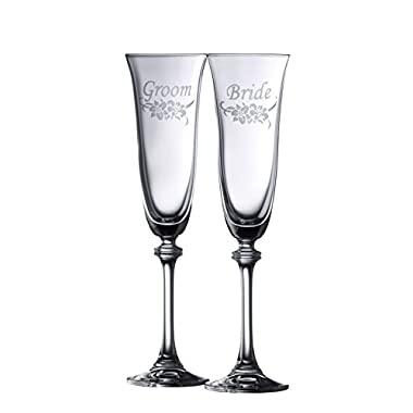Galway Crystal Floral Bride & Groom Liberty Flute (1 Pair), Clear