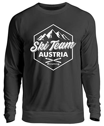 EBENBLATT Apres Ski Team Austria Skiurlaub Österreich Geschenk Geschenkidee für Ski Fahrer - Unisex Pullover -S-Jet Schwarz