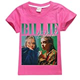 Wazonton Billie Eilish Fans Short T-Shirt Summer Cotton Tops Tees for Girls (130cm/8-9Y, Rose)