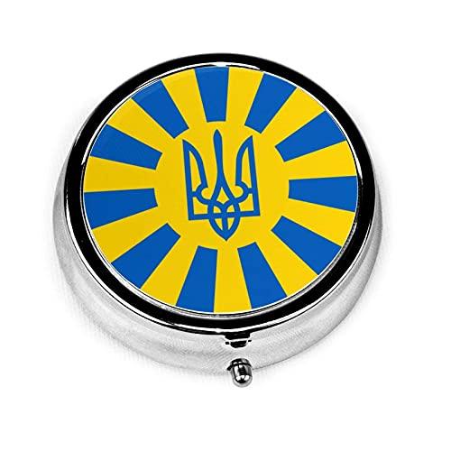 LINGF Bandera ucraniana 3 compartimentos Estuche para píldoras para medicamentos Estuche para píldoras redondo de plata con bolsillo 2 pulgadas Soporte para tabletas para medicamentos