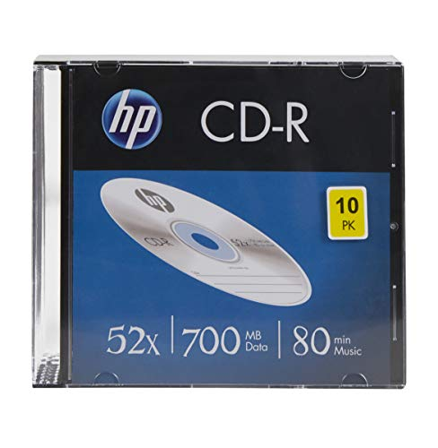 HP Lot de 10 disques Vierges CD-R 52 x 80 Minutes 700 Mo