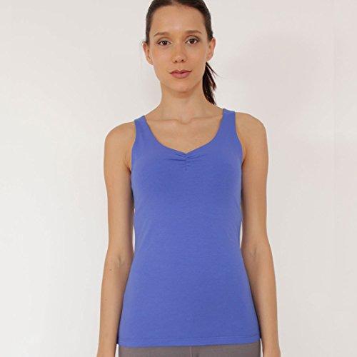 Prancing Leopard Damen Yoga, Pilates, Fitness Tank-Top Neuchatel Ärmelloses Shirt in Bio Baumwolle - S - True Blue