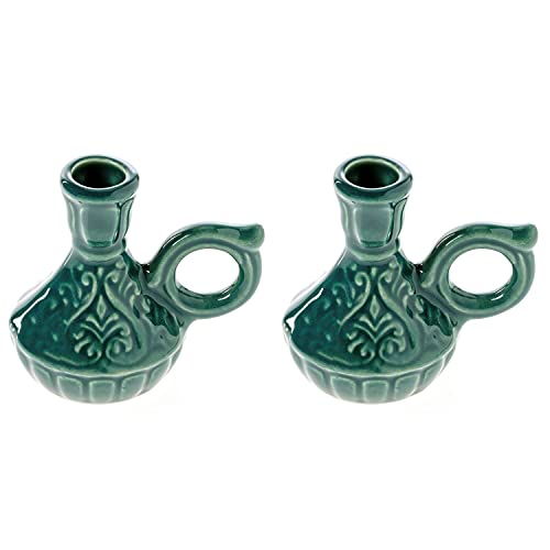 Set of 2 Ceramic Candleholders for Danilovo Slim Taper Candles, Orthodox Candleholders, for Candles up to Diameter 2/5 Inches (Green)