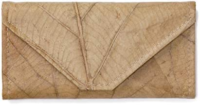 Leaf Leather Envelope Clutch Wallet Handmade Womens Purse Pockets Zip Pouch Beige Natural Color product image