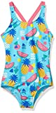 Spotted Zebra Girls' One-Piece Swimsuit, Aqua Pineapple, Small